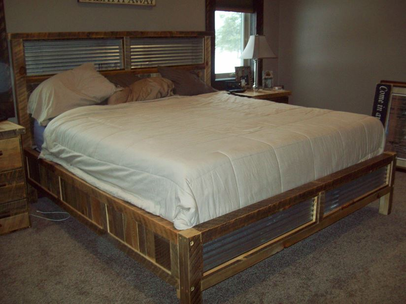 Bed Frame with Metal Accents