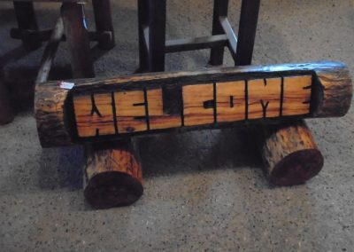 Log Welcome Sign
